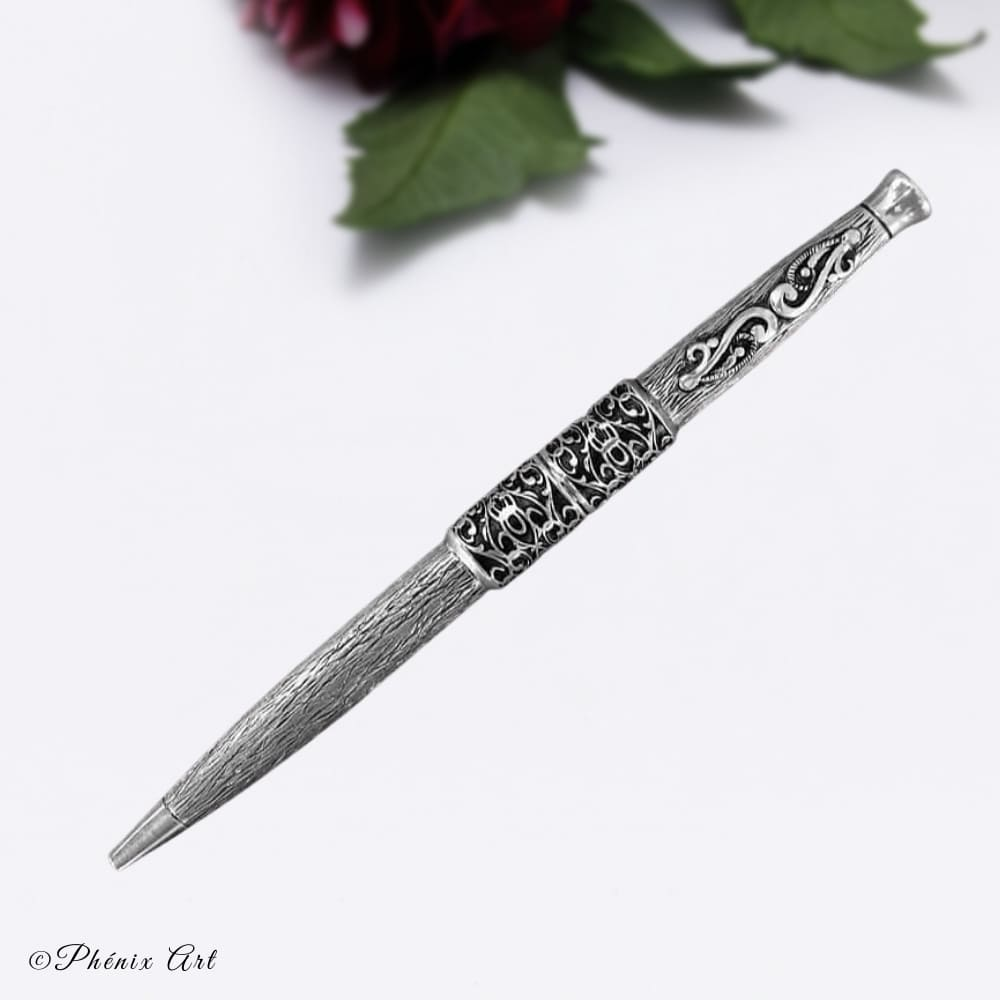 Luxury Hand Engraved Silver Sterling Pen